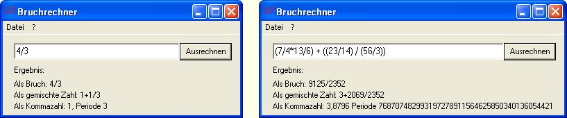 Screenshot des Bruchrechners